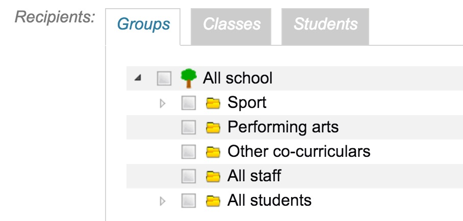 Add notice - specify groups